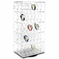 Rotating Lockable Clear Acrylic Jewellery Watch Display Case For 60 Watches