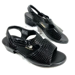 NEW Women's SAS Suntimer Croc Embossed Patent leather Sandals Sz 9 WW