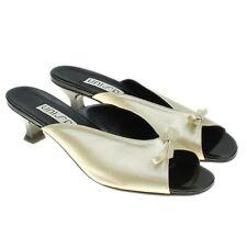 UNISA Womens Gold Open Toe Mules Slip-ons Kitten Heels Shoes Size 8.5