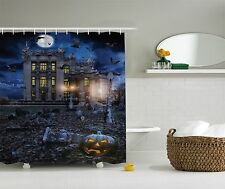 Halloween Home Decoration Haunted House Fabric Shower Curtain Art Bathroom