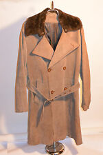 VINTAGE '70s HUK OF SWEDEN DOUBLE BREASTED SUEDE LEATHER OVERCOAT! FUR COLLAR 42