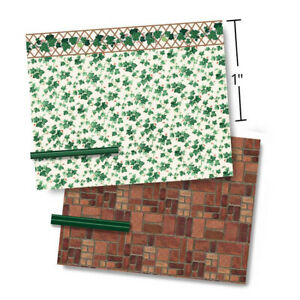 1:48 Scale Dollhouse Wallpaper - Mairzy Doats 1944 Vintage Ivy with Lino Floor
