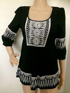 KATIE'S Black White Heavy Embroidered Half Sleeve Boho Tunic top Size 8