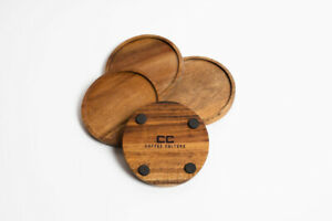 Coffee Culture 4 Coasters Wood Round