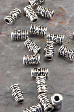 Lot of 10 Pieces  9mm x 5mm Antique Silver Alloy Tube Barrel Ridged Spacer Beads