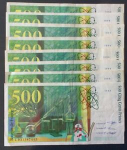 Lot de 8 Billets 500 Francs Marie Curie 1994 et 1995.