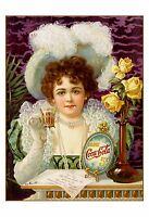 """Art Nouveau Print: Vintage Old COCA COLA Advertisement w/ Womens Fashion 16""""×12"""""""