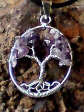 HANDCRAFTED STERLING SILVER TREE OF LIFE 30mm.PENDANT withAMETHYST STONES £14.95