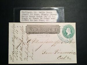 United States stamp on envelop 1876 Wells Fargo Letter, 3c High Value RARE