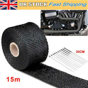 15M TITANIUM THERMAL HEAT WRAP EXHAUST MANIFOLD DOWNPIPE TAPE WITH CABLE TIES UK