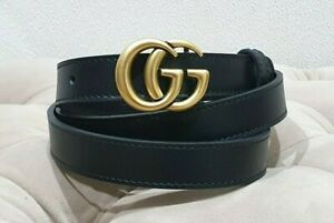 Gucci  black skinny belt, golden tone buckle