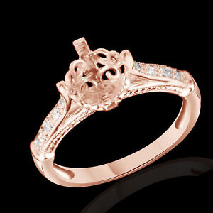 Round Pave Diamond Engagement 6mm Semi Mount Ring Setting Solid 10K Rose Gold