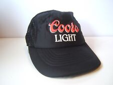 Vintage Coors Light Spell Out Script Beer Hat Black Snapback Trucker Cap