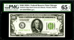 $100 1928A Federal Reserve Note Chicago Fr#2151-G PMG 65 EPQ Gem Uncirculated