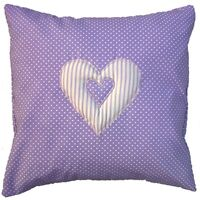 """Lilac Cushion Cover White Spots Striped Heart Shabby Chic Vintage 16"""" x 16"""""""