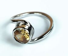 925 Unisex Sterling Silver Ring Natural Champagne Zircon Gemstone Ring Size 6-20