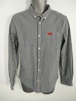 MENS SUPERDRY BLUE WHITE CHECKED BUTTON UP OXFORD LONG SLEEVE SHIRT MEDIUM M