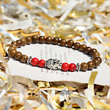 "Fashion Charm 6MM Malachite Meditation Energy Mala Wood Beads Buddha 7"" Bracelet"