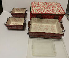 Temptations Floral Lace Red 3 Pc bakeware Set By Tara And Carrying Case Nesting