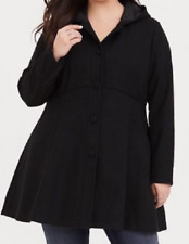 Torrid Fit N Flare Midnight Black long sleeve buttonup hooded swing coat size 5