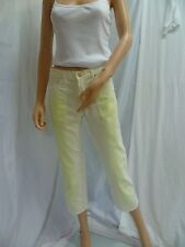 RIP CURL GIRL Cropped Trousers White Yellow 38/UK 8-10* NWOT