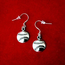 SILVER BASEBALL SOFTBALL DANGLE SPORTS EARRINGS~STERLING HOOKS~GIFT FOR HER MOM