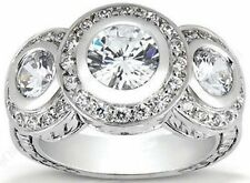 1.51 carat total 3 Stone Round Diamond Vintage style 14k White Gold Wedding Ring