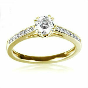 DIAMOND RING SOLITAIRE ACCENTED 1.38 CT 18 KARAT YELLOW GOLD SIZE 6.5 8 9 SI1
