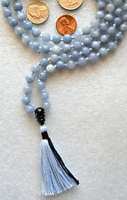 Blue Aventurine Blue Hand Knotted Mala Beads Necklace -Blessed Karma Nirvana