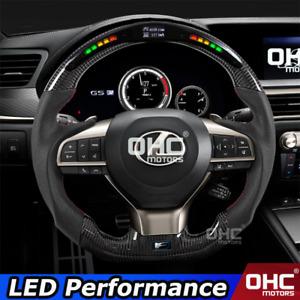 Real Carbon Fiber LED Steering Wheel for Lexus CT IS NX RC ES ES200 ES300