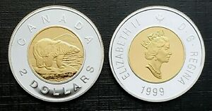 Canada 1999 UNC Proof Gold Plated Silver Toonie!!