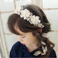Cute Girl Headband Long Lace Ribbon Flower Hairband Kids Hair Accessories Fad.