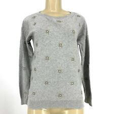 Gap Women Crew Neck Studs Sweater Grey Sz XS 100% Cotton KL11