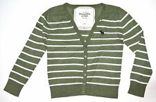 Abercrombie and Fitch green striped cardigan sweater in XS