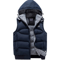 New Mens Cotton Padded Detach Hooded Vest Jacket Body Warmer Gilet Quilted Coat