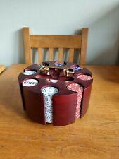 Vintage 200 Poker Chips  With Lazy Susan Poker Chip Holder