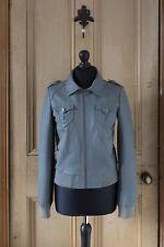 H&M Grey Leather Bomber Jacket_Size 10