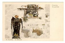 POSTCARD RUSSIAN SIGNED SOLOMKO THE GUARDIAN CONDOR & CAT