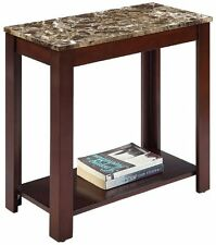 "Dark Cherry finish traditional end sofa table with faux marble printed top 24""H"