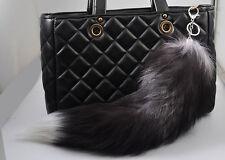 Fluffy Real Fox Fur Tail Keychain Tassel Bag Handbag Pendant Accessory Purse DIY