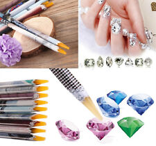 2X Resin Rhinestones Picker Pencil Nail Art Gem Crystal Pick Up Tool Wax Pen