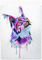 "3.5"" Watercolor Lynx Punk Goth Art Beautiful Rainbow Sticker Skate Cat Wild Cool"
