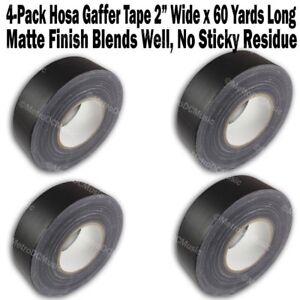 "4-Pack Hosa Gaffer's Tape 2"" Roll 60 Yards Per Roll Matte Black Gaffers Gaff"