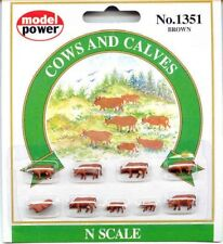 N Scale Figure set - 9 Brown Cows and Calves - Prepainted - FREE SHIP