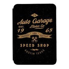 VINTAGE NERO AUTO GARAGE Speed Shop iPad Mini 1 2 3 PU FLIP CASE COVER