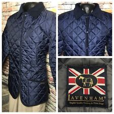 Lavenham Denham Quilted Blue Riding Barn Jacket 44 Large Made in England New