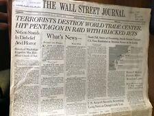 9/11 The Wall Street Journal Newspaper September 12, 2001  secion a & b