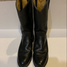 Justin Womens Calf Length Round Toe Leather Western Cowboy Boots Sz 7.5A Black