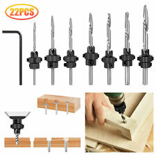 22PCS Tapered Drill Countersink Bit Screw Set Wood Pilot Hole Woodworking Tools