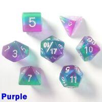 Aurora Gem Poly 7 Dice RPG Set Purple Pathfinder 5e Dungeon Dragon Role Play HD